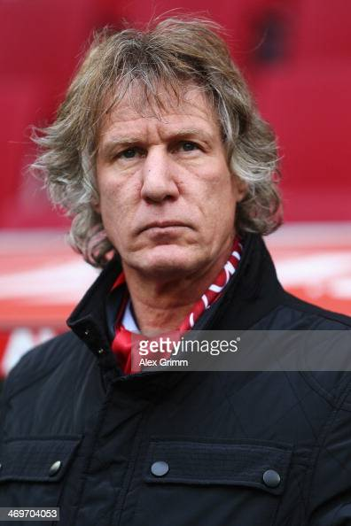 Head coach Gertjan Verbeek of Nuernberg looks on prior to the Bundesliga match between FC Augsburg and 1 FC Nuernberg at SGL Arena on February 16...