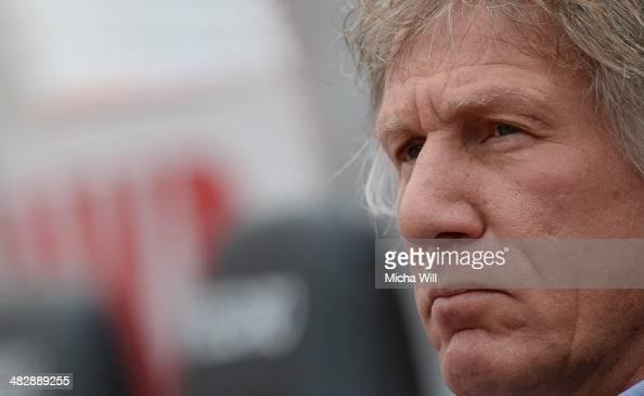 Head coach Gertjan Verbeek of Nuernberg looks on prior to the Bundesliga match between 1 FC Nuernberg and Borussia Moenchengladbach at Grundig...