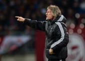 Head coach Gertjan Verbeek of Nuernberg reacts during the Bundesliga match between 1 FC Nuernberg and VfB Stuttgart at Grundig Stadium on March 26...