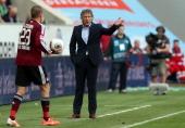 Head coach Gertjan Verbeek of Nuernberg reacts during the Bundesliga match between VfL Wolfsburg and 1 FC Nuernberg at Volkswagen Arena on April 12...