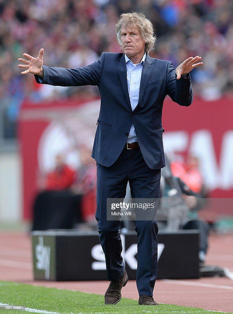 Head coach Gertjan Verbeek of Nuernberg reacts during the Bundesliga match between 1 FC Nuernberg and Bayer Leverkusen at Grundig Stadium on April 20...