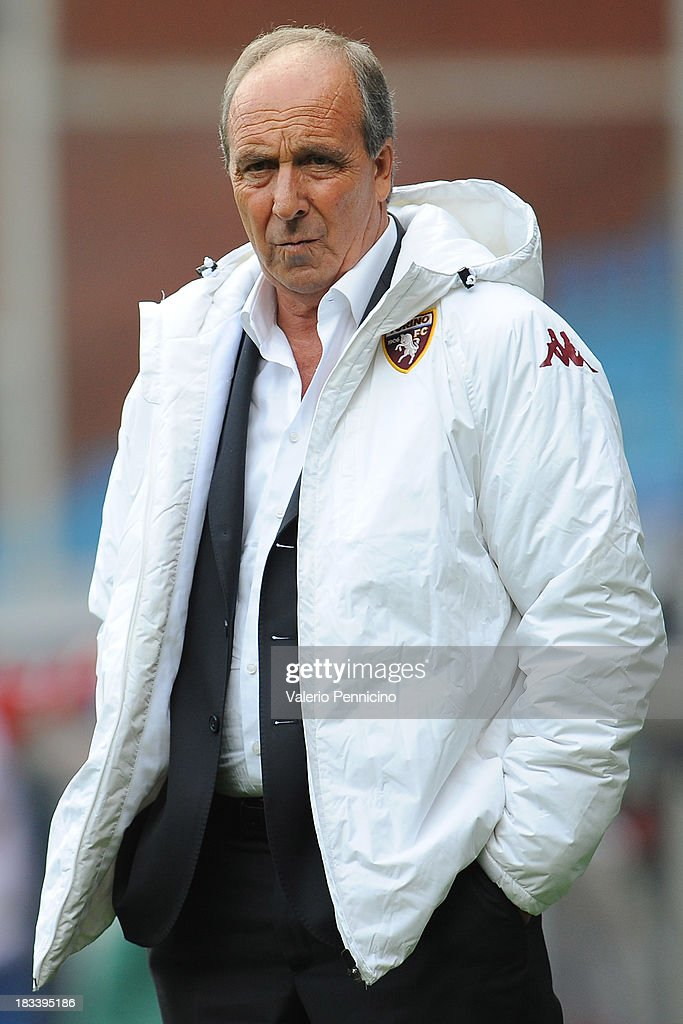 Head coach <a gi-track='captionPersonalityLinkClicked' href=/galleries/search?phrase=Giampiero+Ventura&family=editorial&specificpeople=3648341 ng-click='$event.stopPropagation()'>Giampiero Ventura</a> of Torino FC looks on during the Serie A match between UC Sampdoria and Torino FC at Stadio Luigi Ferraris on October 6, 2013 in Genoa, Italy.