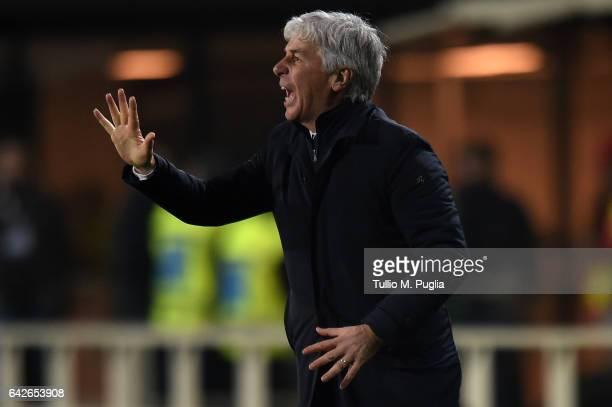 Head Coach Gian Piero Gasperini of Atalanta issues instructions during the Serie A match between Atalanta BC and FC Crotone at Stadio Atleti Azzurri...
