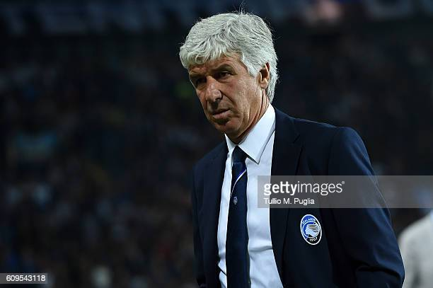 Head Coach Gian Piero Gasperini of Atalanta looks during the Serie A match between Atalanta BC and US Citta di Palermo at Stadio Atleti Azzurri...