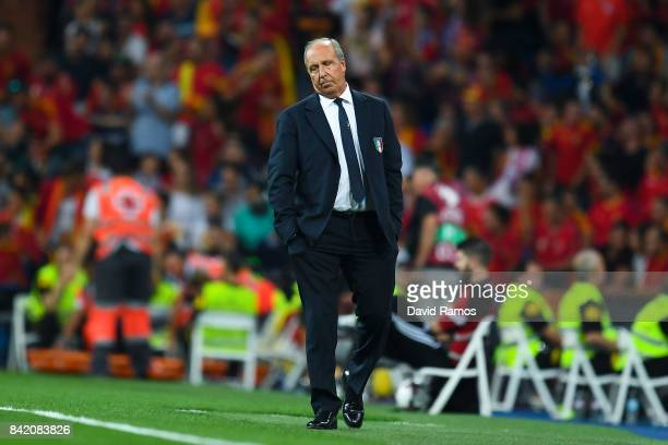 Head Coach Gian Piero Ventura of Italy during the FIFA 2018 World Cup Qualifier between Spain and Italy at Estadio Santiago Bernabeu on September 2...