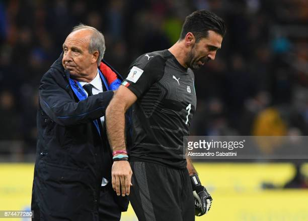 head coach Gian Piero Ventura of Italy embraces Gianluigi Buffon of Italy after the FIFA 2018 World Cup Qualifier PlayOff Second Leg between Italy...