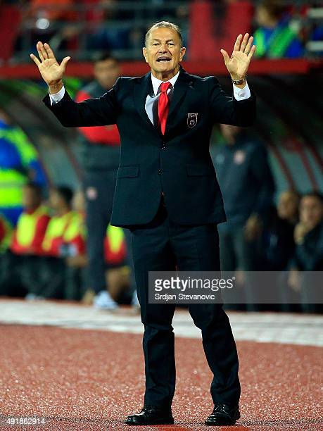 Head coach Giovanni de Biasi of Albania reacts during the UEFA EURO 2016 qualifier between Albania and Serbia at the Elbasan Arena on October 08 2015...