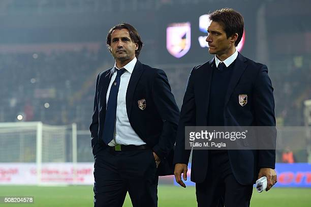 Head Coach Giovanni Tedesco and Guillermo Barros Schelotto of Palermo look on during the Serie A match between US Citta di Palermo and AC Milan at...