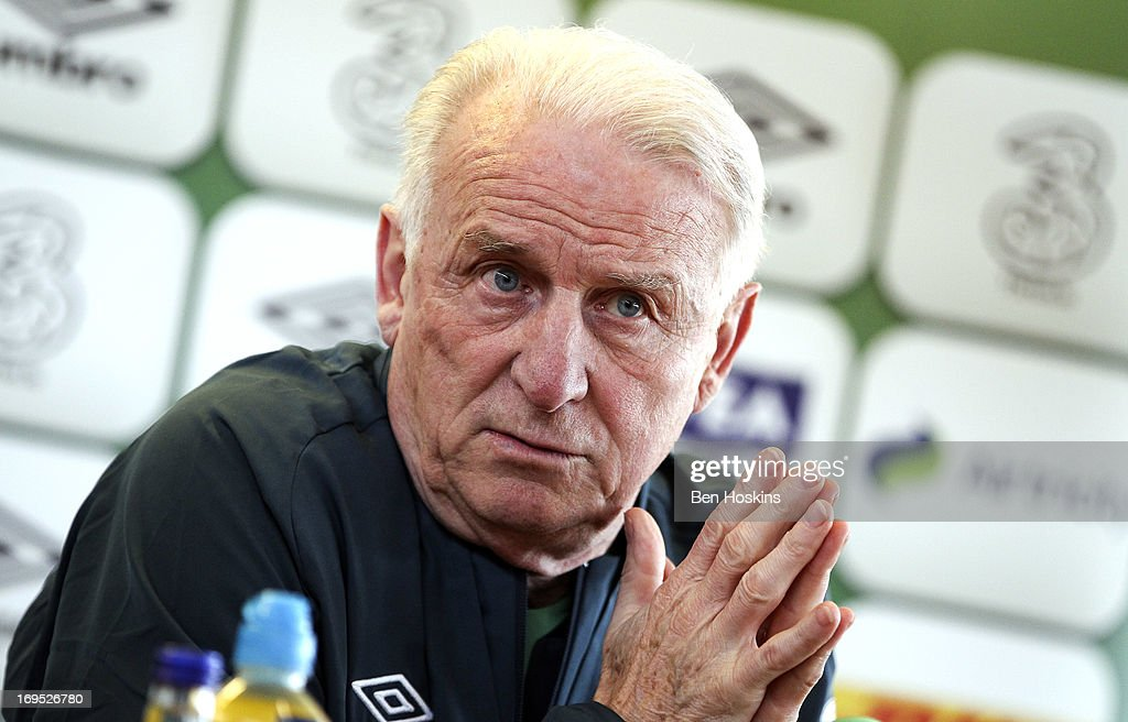 Head coach Giovanni Trapattoni of the Republic of Ireland attends a press conference at an Ireland training session at Watford FC Training Ground on May 26, 2013 near St Albans, London Colney, England.