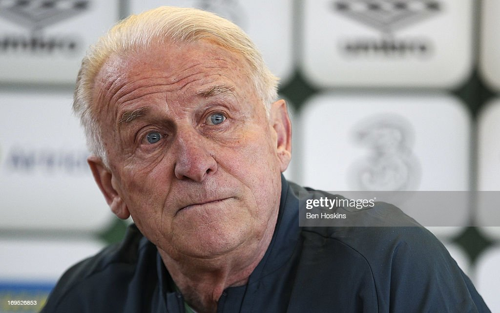 Head coach <a gi-track='captionPersonalityLinkClicked' href=/galleries/search?phrase=Giovanni+Trapattoni&family=editorial&specificpeople=209002 ng-click='$event.stopPropagation()'>Giovanni Trapattoni</a> of the Republic of Ireland attends a press conference at an Ireland training session at Watford FC Training Ground on May 26, 2013 near St Albans, London Colney, England.