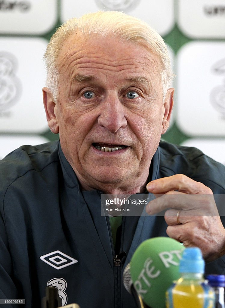 Head coach <a gi-track='captionPersonalityLinkClicked' href=/galleries/search?phrase=Giovanni+Trapattoni&family=editorial&specificpeople=209002 ng-click='$event.stopPropagation()'>Giovanni Trapattoni</a> of the Republic of Ireland speaks during a press conference at the Watford FC Training Ground on May 26, 2013 near St Albans, London Colney, England.