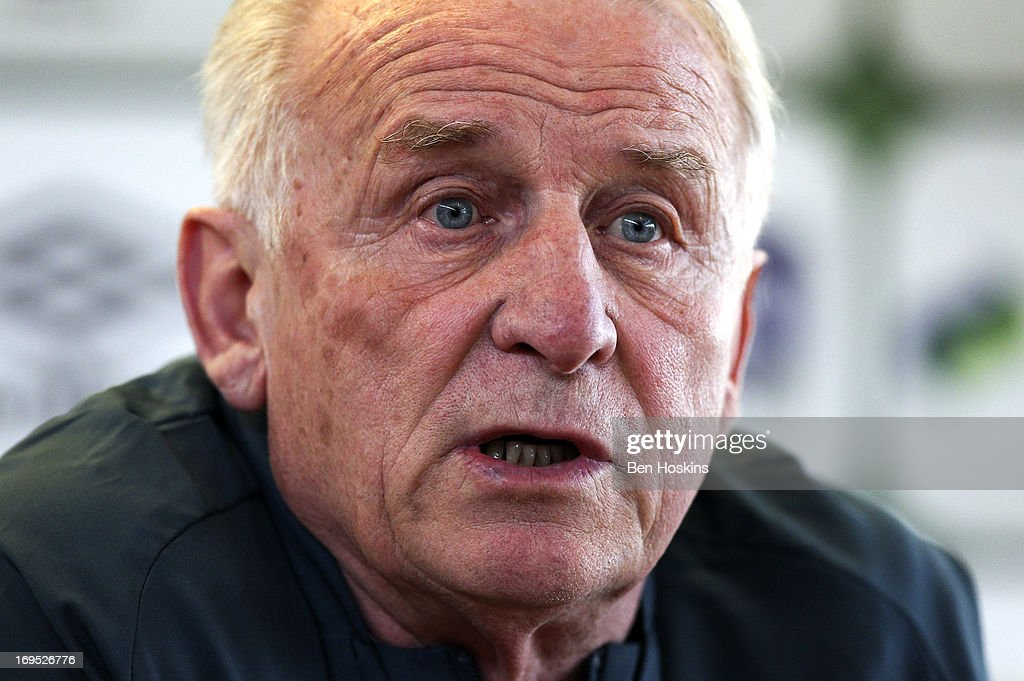 Head coach <a gi-track='captionPersonalityLinkClicked' href=/galleries/search?phrase=Giovanni+Trapattoni&family=editorial&specificpeople=209002 ng-click='$event.stopPropagation()'>Giovanni Trapattoni</a> of the Republic of Ireland speaks during a press conference at an Ireland training session at Watford FC Training Ground on May 26, 2013 near St Albans, London Colney, England.