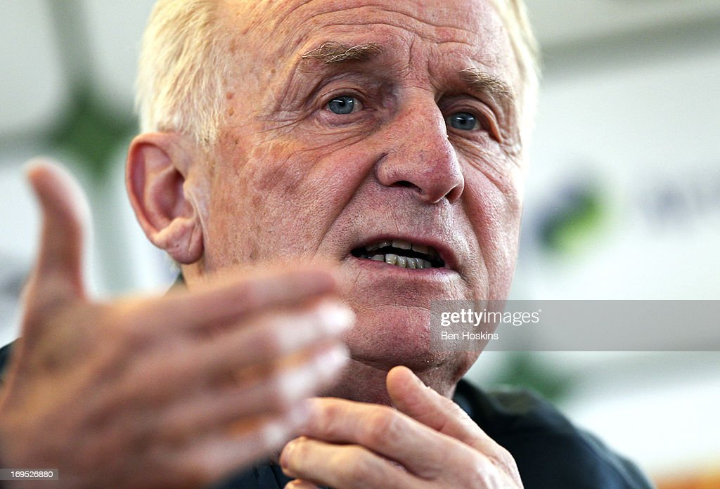 Head coach Giovanni Trapattoni of the Republic of Ireland speaks during a press conference at an Ireland training session at Watford FC Training Ground on May 26, 2013 near St Albans, London Colney, England.