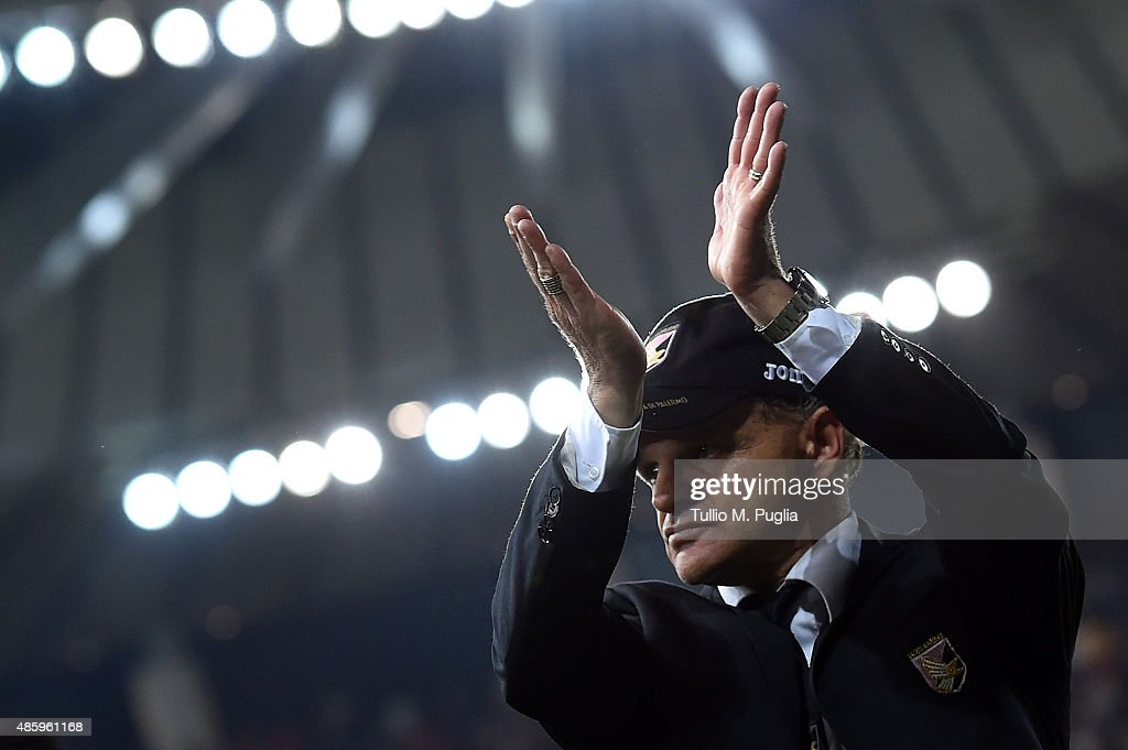 Head coach Giuseppe Iachini od Palermo celebrates after winning the Serie A match between Udinese Calcio and US Citta di Palermo at Stadio Friuli on...