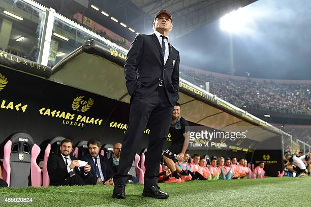 Head Coach Giuseppe Iachini of Palermo looks on during the Serie A match between US Citta di Palermo and Genoa CFC at Stadio Renzo Barbera on August...