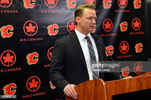 Head coach Glen Gulutzan of the Calgary Flames addresses the media after an NHL game against the Toronto Maple Leafs on November 30 2016 at the...