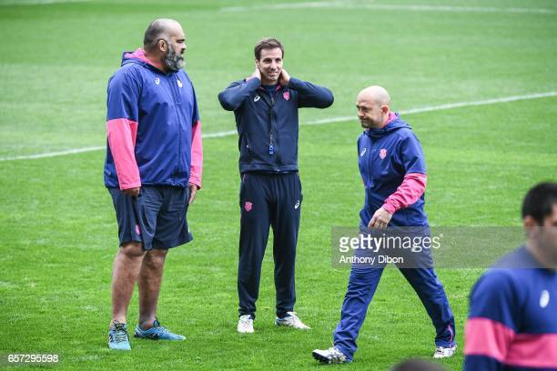 Head coach Gonzalo Quesada and Assistant coach Simon Raiwalui during the training session of the Stade Francais at Stade Jean Bouin on March 24 2017...