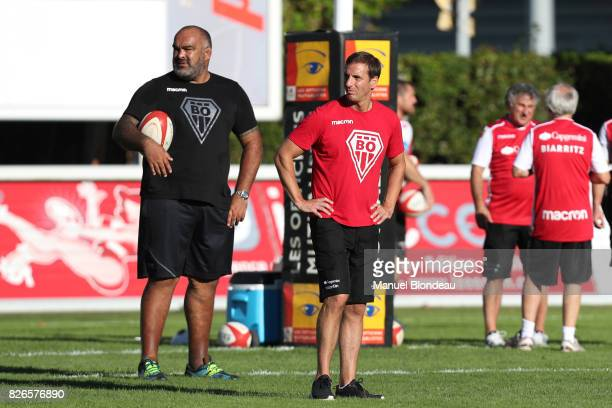 Head coach Gonzalo Quesada and Assistant coach Simon Raiwalui of Biarritz during the test match between Bordeaux Begles and Biarritz at Stade...