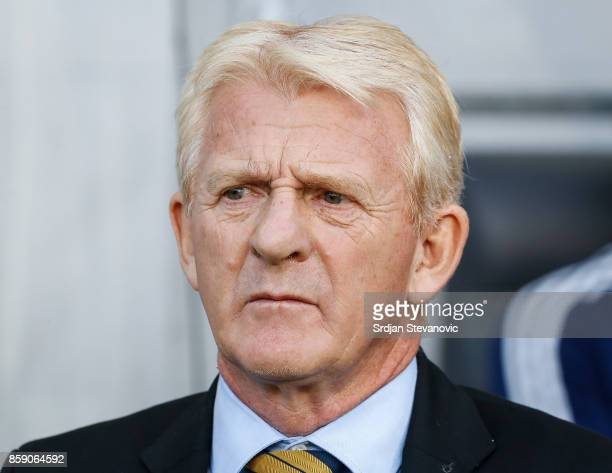 Head coach Gordon Strachan looks on prior to the FIFA 2018 World Cup Qualifier match between Slovenia and Scotland at stadium Stozice on October 08...