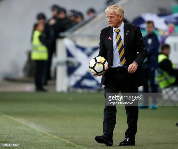 Head coach Gordon Strachan of Scotland in action during the FIFA 2018 World Cup Qualifier match between Slovenia and Scotland at stadium Stozice on...