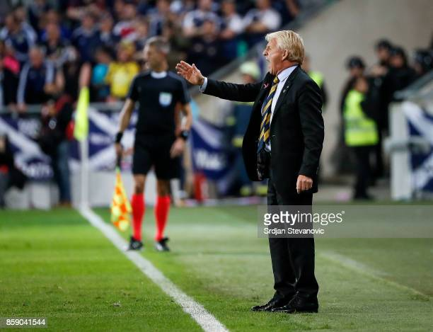 Head coach Gordon Strachan of Scotland reacts during the FIFA 2018 World Cup Qualifier match between Slovenia and Scotland at stadium Stozice on...