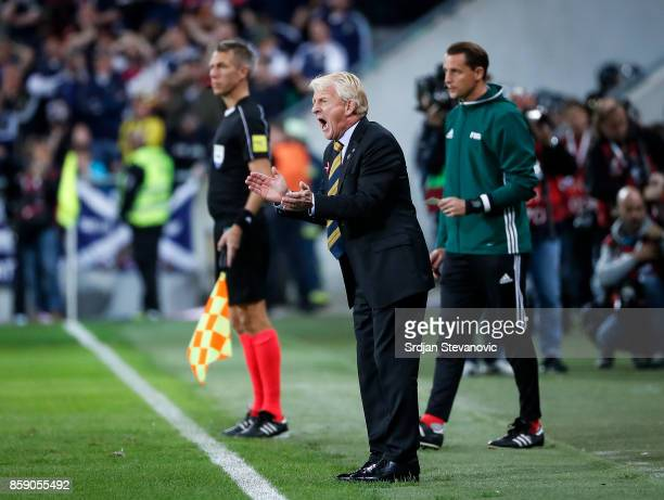 Head coach Gordon Strachan reacts of Scotland during the FIFA 2018 World Cup Qualifier match between Slovenia and Scotland at stadium Stozice on...