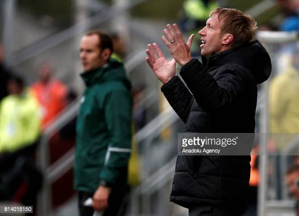 Head coach Graham Potter of Ostersund reacts during the UEFA Europa League 2nd Qualifying Round soccer match between Galatasaray and Ostersund FK at...