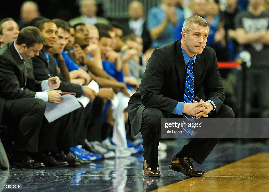 Head coach Greg Lansing of the Indiana State Sycamores reacts during their game against the Creighton Bluejays at the CenturyLink Center on January 5, 2013 in Omaha, Nebraska. Creighton defeated Indiana State 79-66.