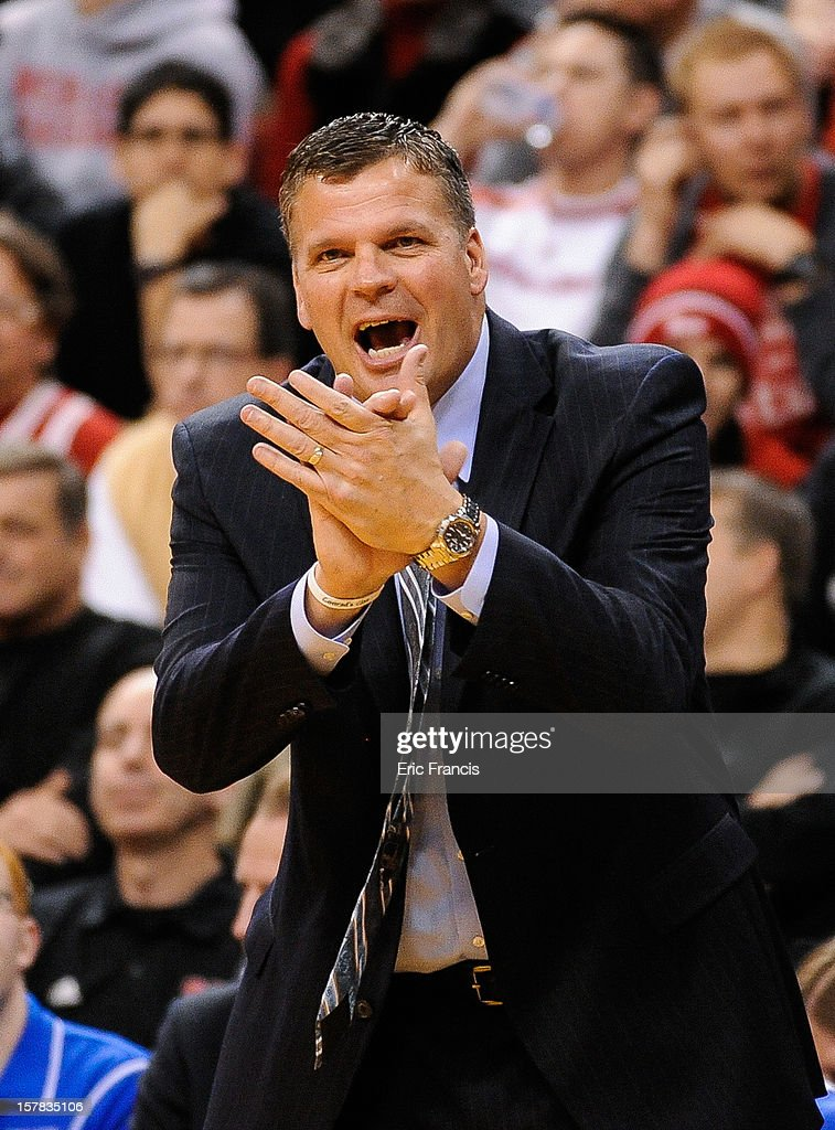 Head coach Greg McDermott of the Creighton Bluejays cheers his team during their game against the Nebraska Cornhuskers at the Devaney Center on December 6, 2012 in Lincoln, Nebraska.