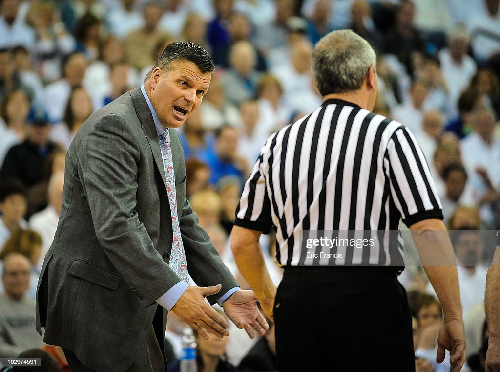 Head coach <a gi-track='captionPersonalityLinkClicked' href=/galleries/search?phrase=Greg+McDermott&family=editorial&specificpeople=803538 ng-click='$event.stopPropagation()'>Greg McDermott</a> of the Creighton Bluejays disputes a call during their game against the Wichita State Shockers at the CenturyLink Center on March 2, 2013 in Omaha, Nebraska.