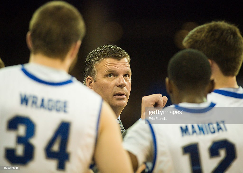 Head coach Greg McDermott of the Creighton Bluejays talks to his team during a time out during their game against the Northern Iowa Panthers at the CenturyLink Center on January 15, 2013 in Omaha, Nebraska. Creighton defeated Northern Iowa 79-68.
