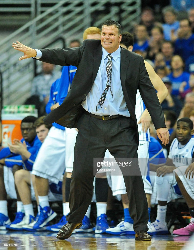 Head coach Greg McDermott of the Creighton Bluejays yells instructions to his team during their game at against the Boise State Broncos CenturyLink Center on November 28, 2012 in Omaha, Nebraska. Boise State beat Creighton 83-70.