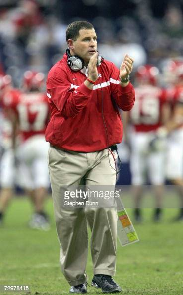 Head coach Greg Schiano of the Rutgers Scarlet Knights celebrates against the Kansas State Wildcats in the Texas Bowl on December 28 2006 at Reliant...