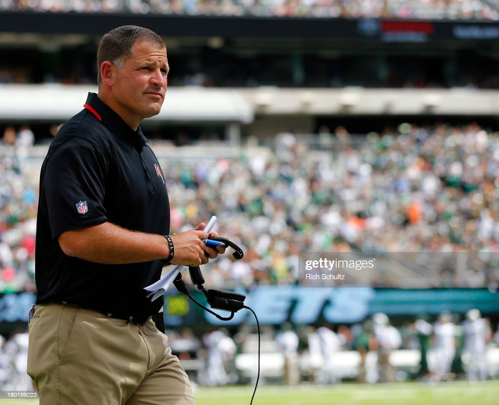 Head coach Greg Schiano of the Tampa Bay Buccaneers on the side lines during a game against the New York Jets at MetLife Stadium on September 8 2013...