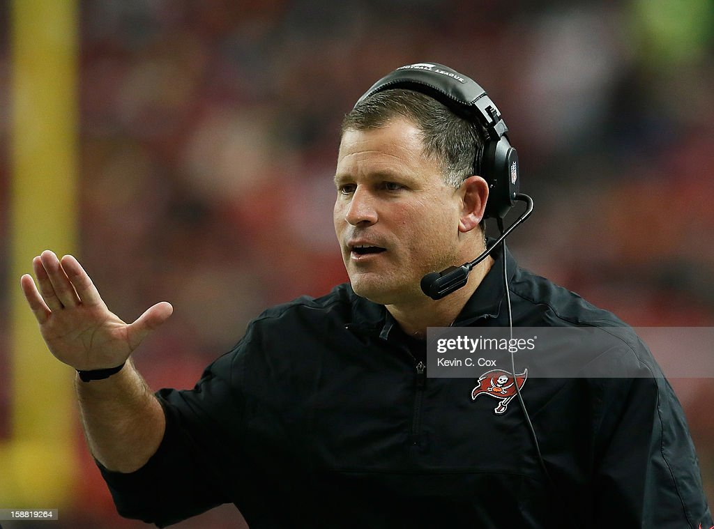 Head coach <a gi-track='captionPersonalityLinkClicked' href=/galleries/search?phrase=Greg+Schiano&family=editorial&specificpeople=2365166 ng-click='$event.stopPropagation()'>Greg Schiano</a> of the Tampa Bay Buccaneers reacts after a play against the Atlanta Falcons at Georgia Dome on December 30, 2012 in Atlanta, Georgia.