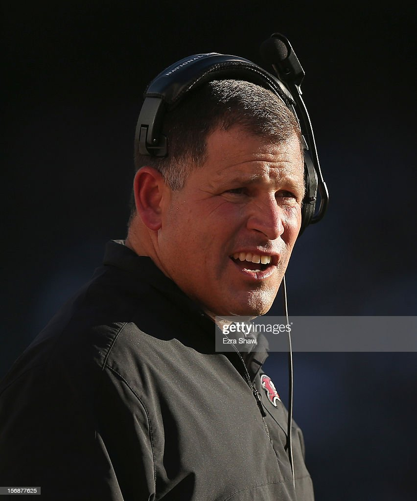 Head coach <a gi-track='captionPersonalityLinkClicked' href=/galleries/search?phrase=Greg+Schiano&family=editorial&specificpeople=2365166 ng-click='$event.stopPropagation()'>Greg Schiano</a> of the Tampa Bay Buccaneers stands on the sidelines during their game against the Oakland Raiders at O.co Coliseum on November 4, 2012 in Oakland, California.