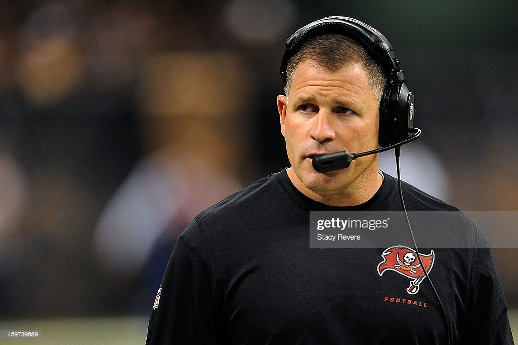 Head coach Greg Schiano of the Tampa Bay Buccaneers watches action during a game against the New Orleans Saints at the MercedesBenz Superdome on...