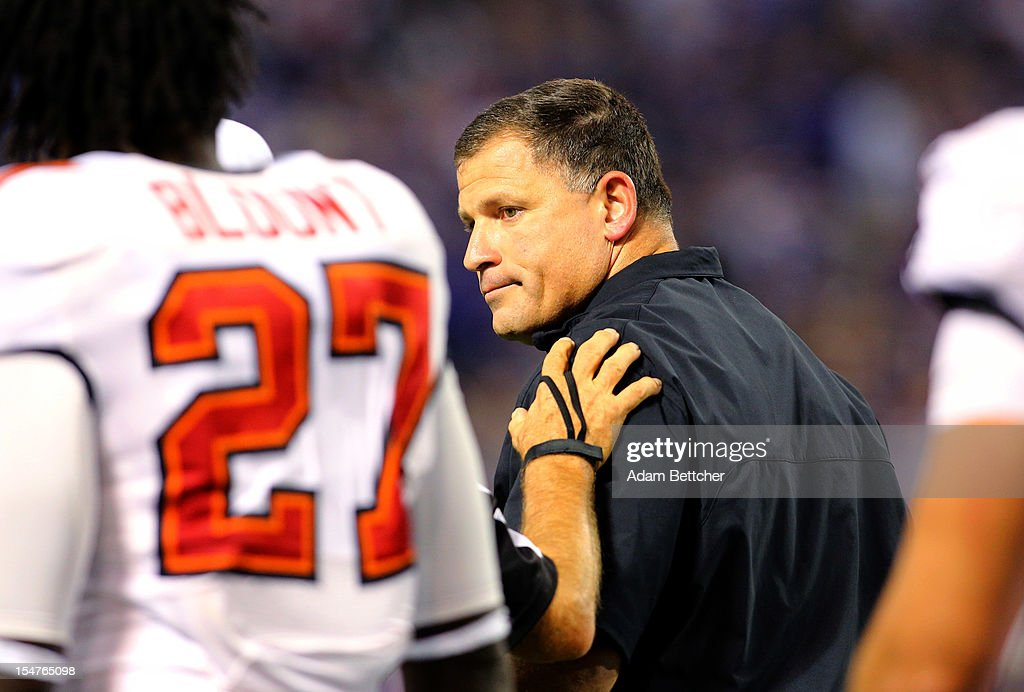 Head coach Greg Schiano of the Tampa Bay Buccaneers watches from the sidelines against the Minnesota Vikings at the Hubert H. Humphrey Metrodome on October 25, 2012 in Minneapolis, Minnesota.