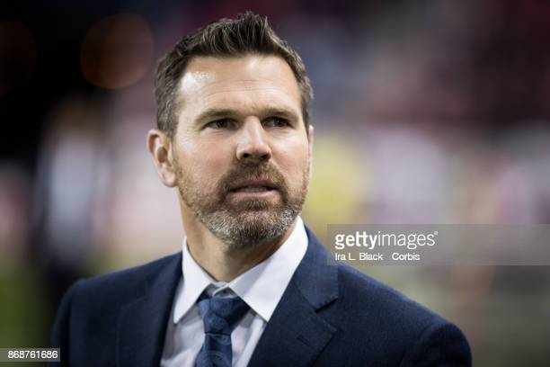 Head Coach Greg Vanney of Toronto FC reacts to the New York Red Bulls fans during the Audi MLS Cup Playoff match between New York Red Bulls and...
