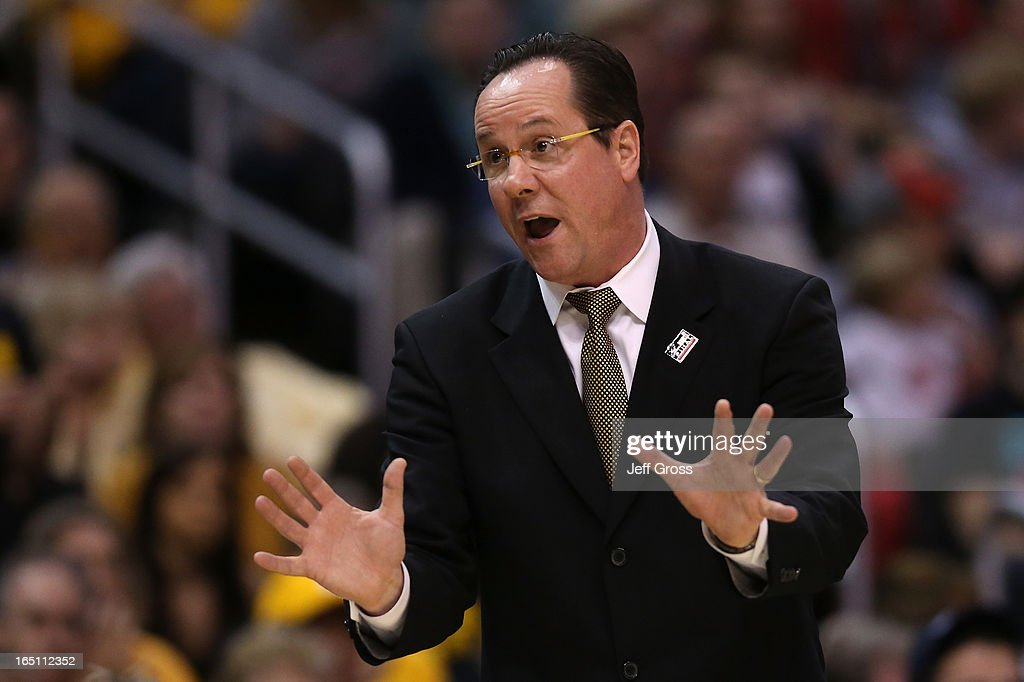 Head coach Gregg Marshall of the Wichita State Shockers calls out in the first half while taking on the Ohio State Buckeyes during the West Regional Final of the 2013 NCAA Men's Basketball Tournament at Staples Center on March 30, 2013 in Los Angeles, California.