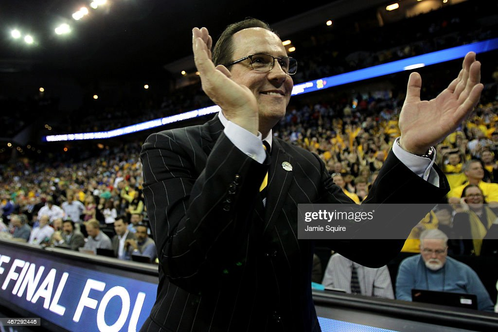 Head coach <a gi-track='captionPersonalityLinkClicked' href=/galleries/search?phrase=Gregg+Marshall&family=editorial&specificpeople=623591 ng-click='$event.stopPropagation()'>Gregg Marshall</a> of the Wichita State Shockers celebrates after defeating the Kansas Jayhawks in the third round of the 2015 NCAA Men's Basketball Tournament at the CenturyLink Center on March 22, 2015 in Omaha, Nebraska.