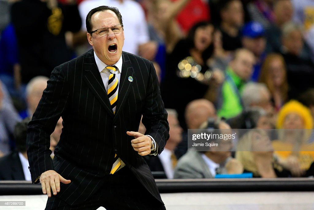 Head coach <a gi-track='captionPersonalityLinkClicked' href=/galleries/search?phrase=Gregg+Marshall&family=editorial&specificpeople=623591 ng-click='$event.stopPropagation()'>Gregg Marshall</a> of the Wichita State Shockers looks on against the Kansas Jayhawks in the first half during the third round of the 2015 NCAA Men's Basketball Tournament at the CenturyLink Center on March 22, 2015 in Omaha, Nebraska.