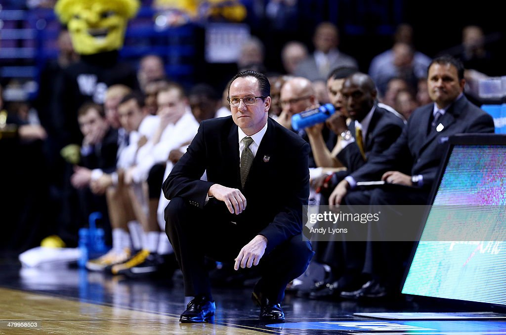 Head coach <a gi-track='captionPersonalityLinkClicked' href=/galleries/search?phrase=Gregg+Marshall&family=editorial&specificpeople=623591 ng-click='$event.stopPropagation()'>Gregg Marshall</a> of the Wichita State Shockers looks on during the second round of the 2014 NCAA Men's Basketball Tournament against the Cal Poly Mustangs at the Scottrade Center on March 21, 2014 in St Louis, Missouri.