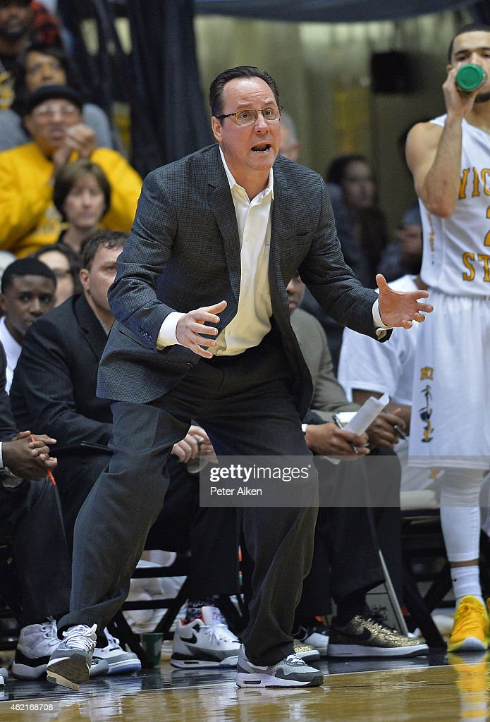 Head coach <a gi-track='captionPersonalityLinkClicked' href=/galleries/search?phrase=Gregg+Marshall&family=editorial&specificpeople=623591 ng-click='$event.stopPropagation()'>Gregg Marshall</a> of the Wichita State Shockers reacts after a play in the first half against the Drake Bulldogs on January 25, 2015 at Charles Koch Arena in Wichita, Kansas. Wichita State defeated Drake 74-40.