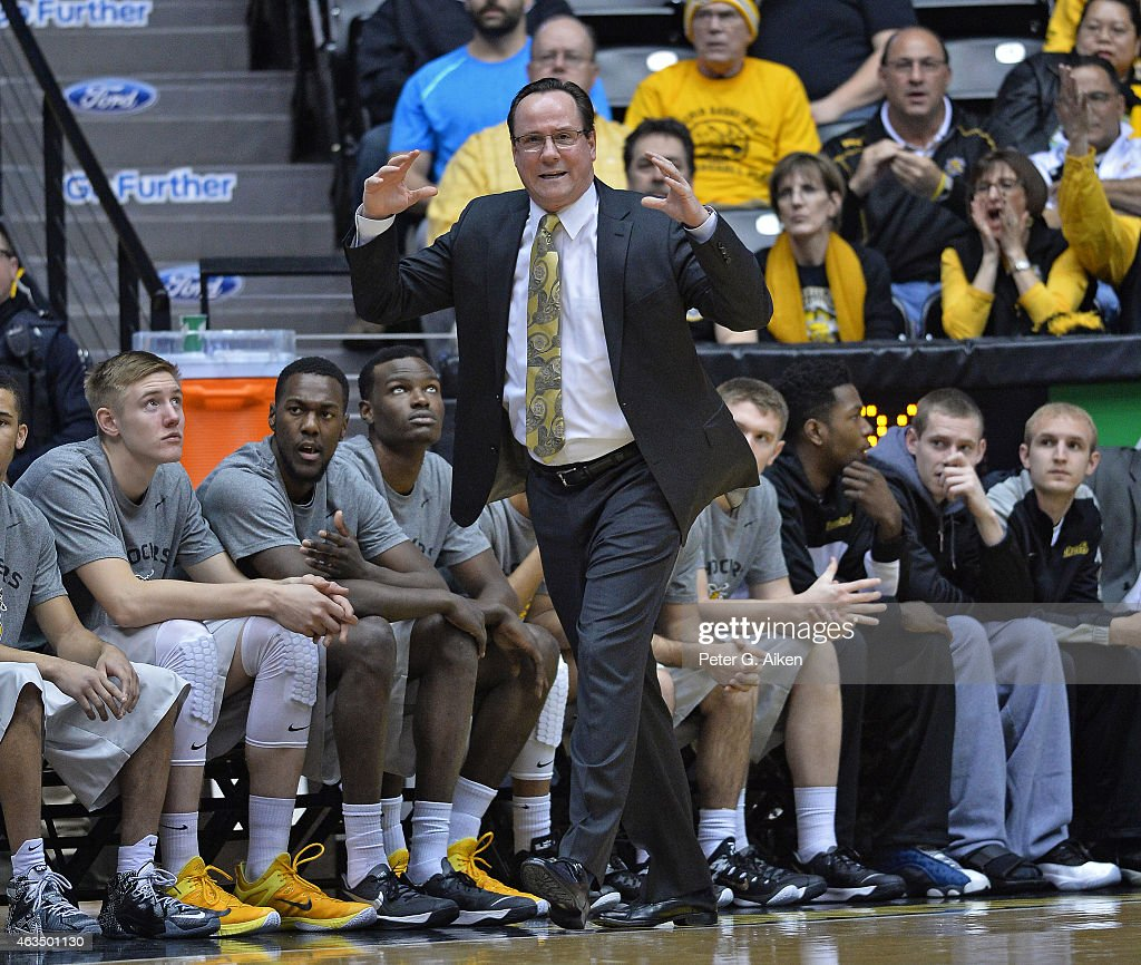 Head coach <a gi-track='captionPersonalityLinkClicked' href=/galleries/search?phrase=Gregg+Marshall&family=editorial&specificpeople=623591 ng-click='$event.stopPropagation()'>Gregg Marshall</a> of the Wichita State Shockers reacts after a play against the Indiana State Sycamores during the first half on February 11, 2015 at Charles Koch Arena in Wichita, Kansas.
