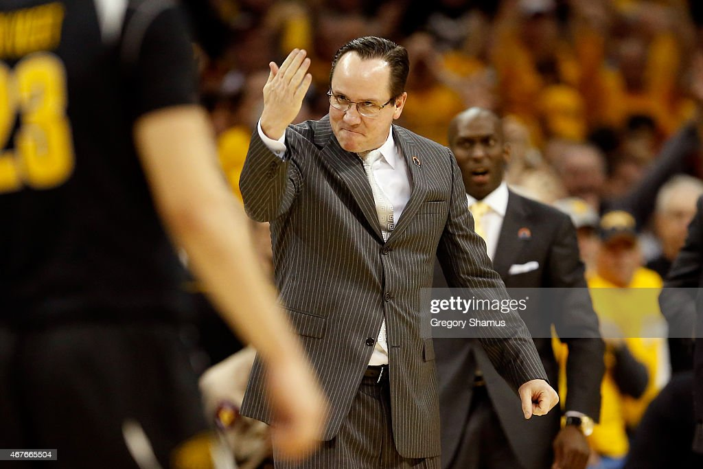 Head coach <a gi-track='captionPersonalityLinkClicked' href=/galleries/search?phrase=Gregg+Marshall&family=editorial&specificpeople=623591 ng-click='$event.stopPropagation()'>Gregg Marshall</a> of the Wichita State Shockers reacts after a play in the second half against the Notre Dame Fighting Irish during the Midwest Regional semifinal of the 2015 NCAA Men's Basketball Tournament at Quicken Loans Arena on March 26, 2015 in Cleveland, Ohio.
