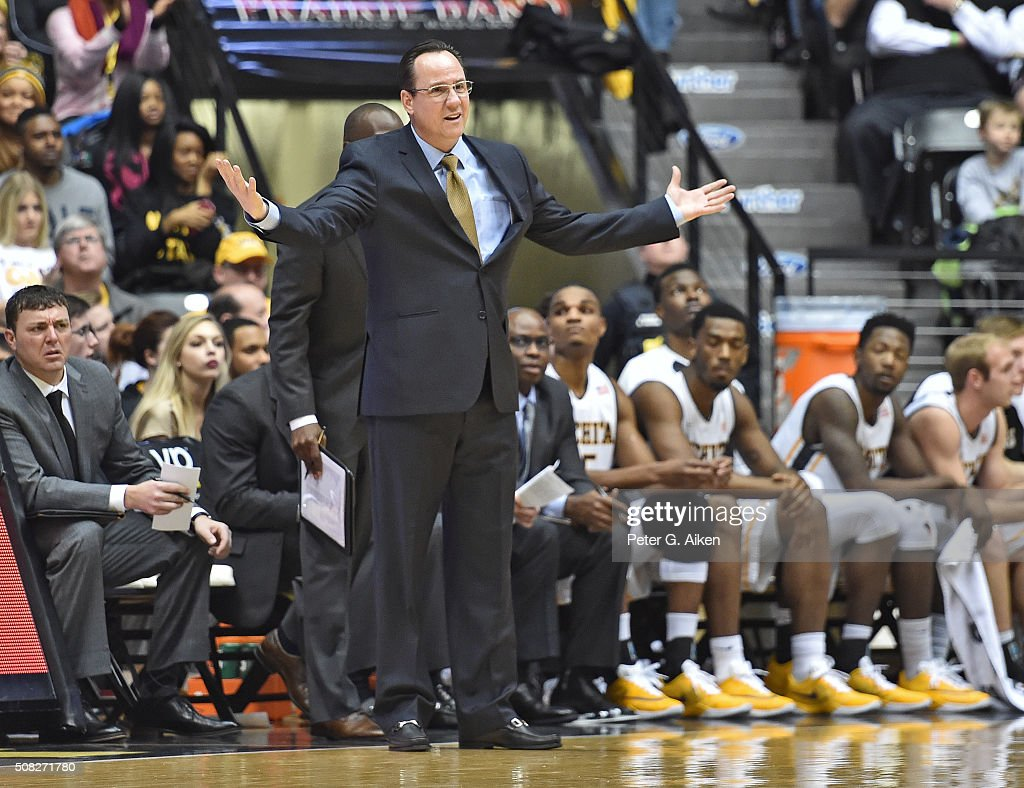 Head coach <a gi-track='captionPersonalityLinkClicked' href=/galleries/search?phrase=Gregg+Marshall&family=editorial&specificpeople=623591 ng-click='$event.stopPropagation()'>Gregg Marshall</a> of the Wichita State Shockers reacts after a call against the Shockers during the first half against the Southern Illinois Salukis on February 3, 2016 at Charles Koch Arena in Wichita, Kansas. Wichita State defeated Southern Illinois 76-55.
