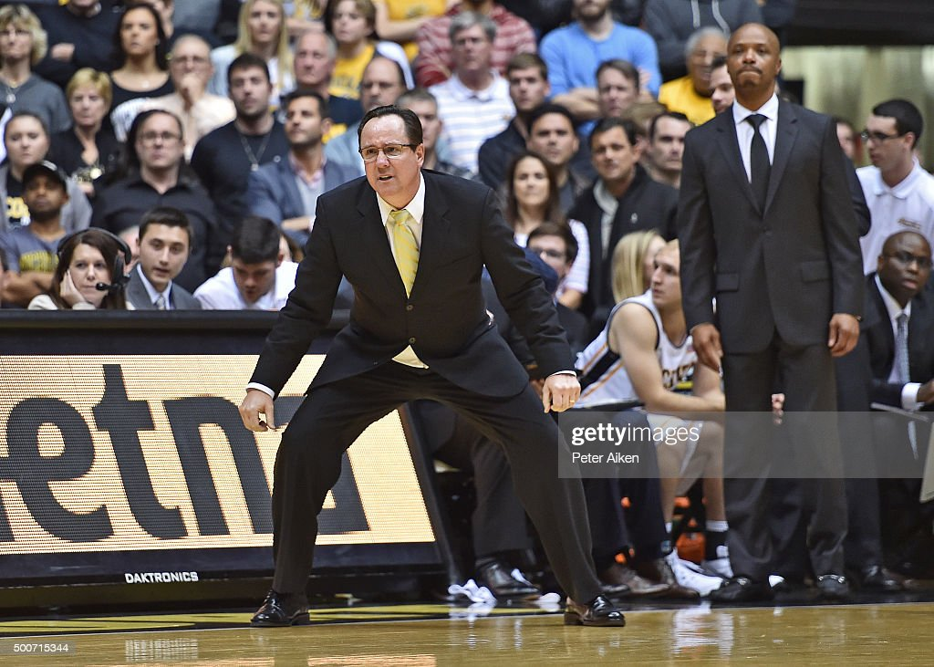 Head coach <a gi-track='captionPersonalityLinkClicked' href=/galleries/search?phrase=Gregg+Marshall&family=editorial&specificpeople=623591 ng-click='$event.stopPropagation()'>Gregg Marshall</a> of the Wichita State Shockers reacts during a play against the UNLV Rebels during the second half on December 9, 2015 at Charles Koch Arena in Wichita, Kansas. Wichita State defeated UNLV 56-50.