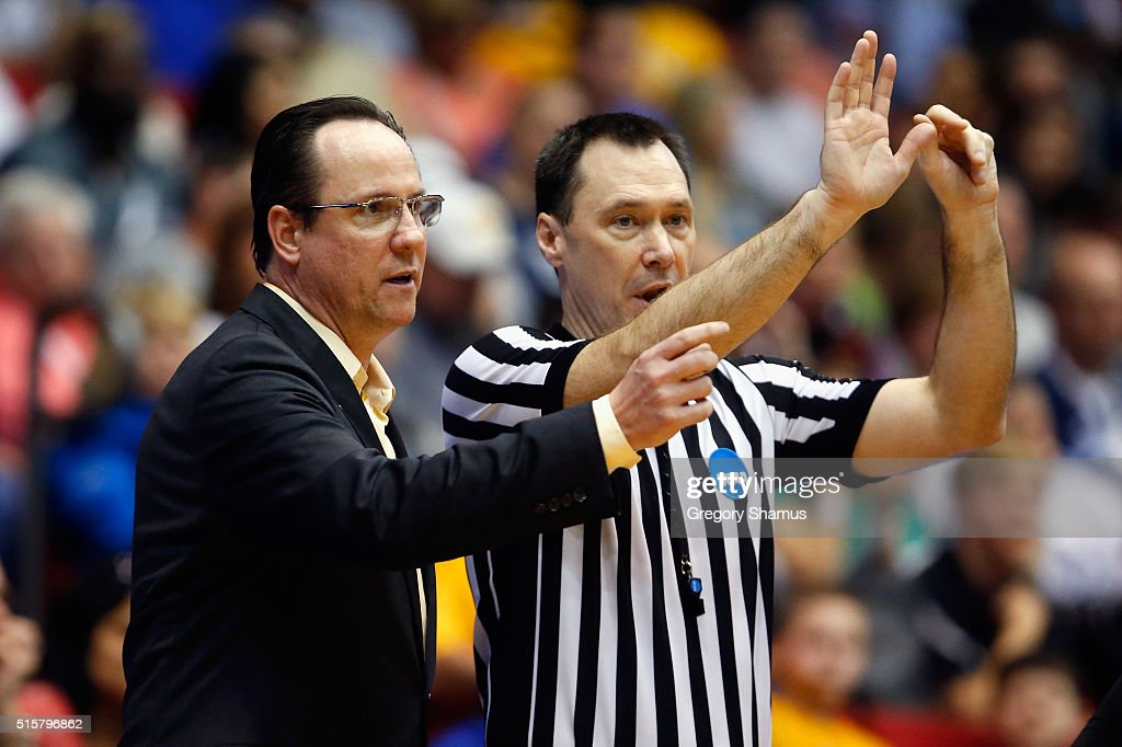 Head coach <a gi-track='captionPersonalityLinkClicked' href=/galleries/search?phrase=Gregg+Marshall&family=editorial&specificpeople=623591 ng-click='$event.stopPropagation()'>Gregg Marshall</a> of the Wichita State Shockers reacts during the game against the Vanderbilt Commodores in the first round of the 2016 NCAA Men's Basketball Tournament at UD Arena on March 15, 2016 in Dayton, Ohio.