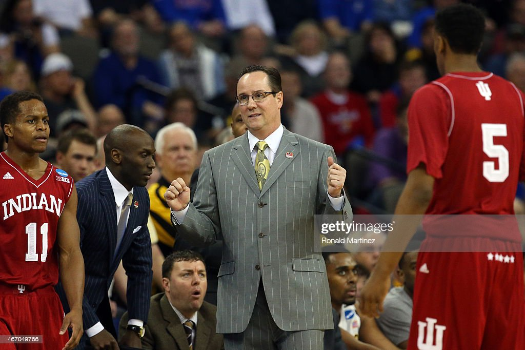 Head coach <a gi-track='captionPersonalityLinkClicked' href=/galleries/search?phrase=Gregg+Marshall&family=editorial&specificpeople=623591 ng-click='$event.stopPropagation()'>Gregg Marshall</a> of the Wichita State Shockers reacts on the sideline against the Indiana Hoosiers during the second round of the 2015 NCAA Men's Basketball Tournament at the CenturyLink Center on March 20, 2015 in Omaha, Nebraska.
